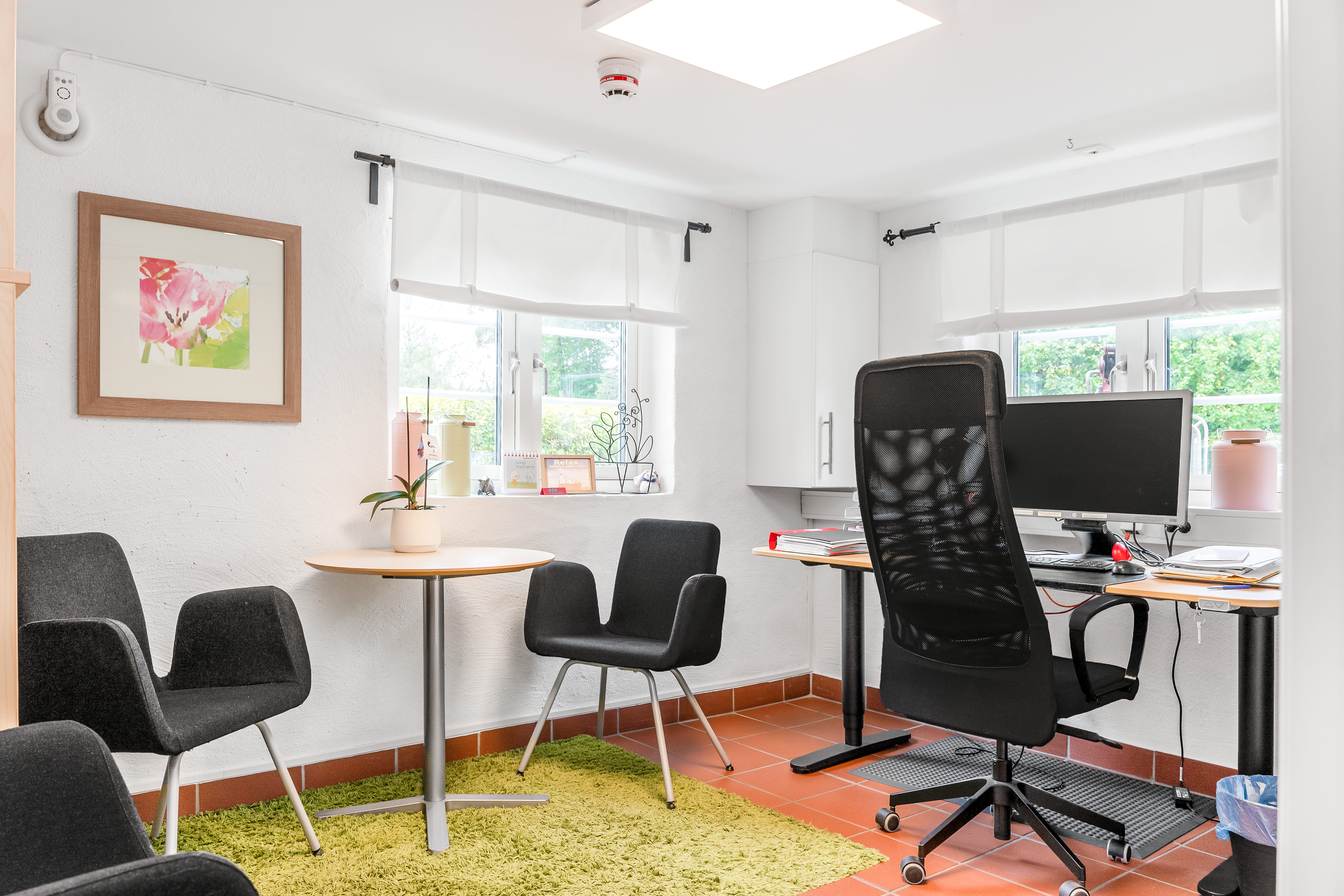 A living area with a desk and chair in a room